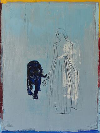 Jacek Łydżba : Lady with a black panther : Oil on Canvas