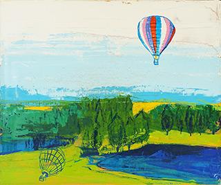 Jacek Łydżba : Landscape with a balloon : Oil on Canvas