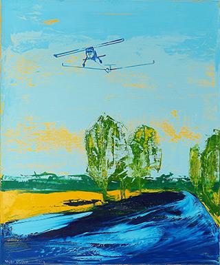 Jacek Łydżba : Landscape with glider towing : Oil on Canvas