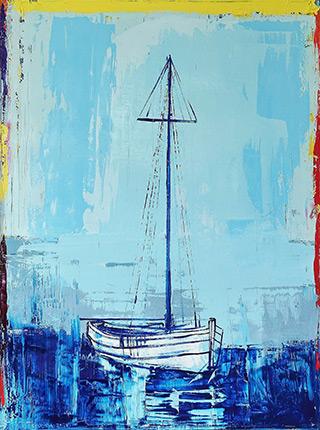 Jacek Łydżba : Marina after season : Oil on Canvas