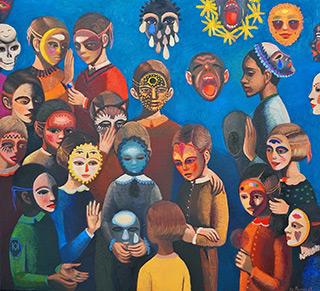 Katarzyna Karpowicz : Children and masks I : Oil on Canvas