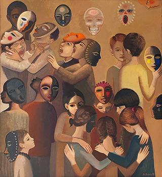 Katarzyna Karpowicz : Children and masks II : Oil on Canvas