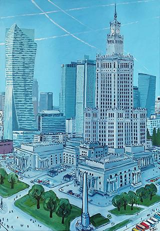 Krzysztof Kokoryn : Blue Center : Oil on Canvas