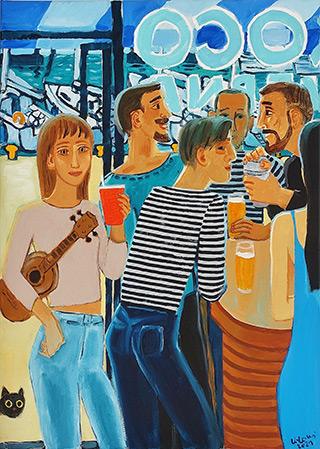 Krzysztof Kokoryn : Meeting in the marina : Oil on Canvas