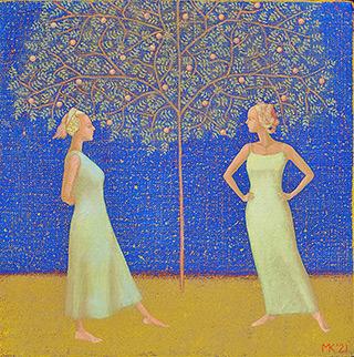 Mikołaj Kasprzyk : Under the tree : Oil on Canvas