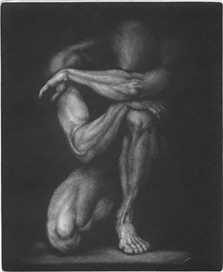 Maciej Deja : Figure : Mezzotint on Paper