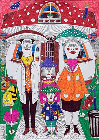 Wiktor Gorazdowski : Rodzina Kapeluszników The Hatter Family : Fineliner and marker on paper