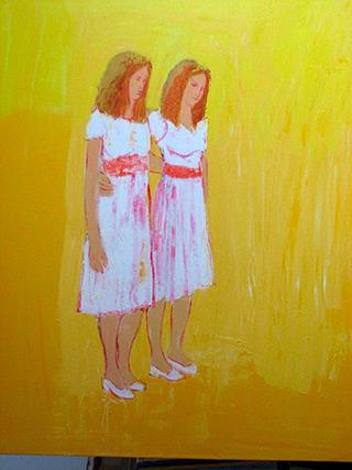 Jacek Łydżba : Two ladies white dressed : Oil on Canvas