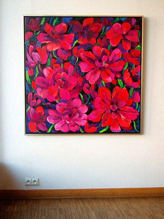 Beata Murawska : Dark purple flowres : Oil on Canvas