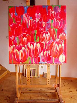 Beata Murawska : Tulips pink light : Oil on Canvas