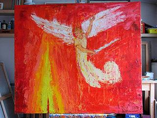 Jacek Łydżba : Red angel : Oil on Canvas