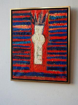 Darek Pala : White vase on red blue background : Oil on Canvas