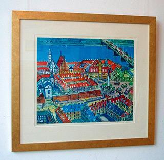 Edward Dwurnik : Warsaw view : Tempera on Paper