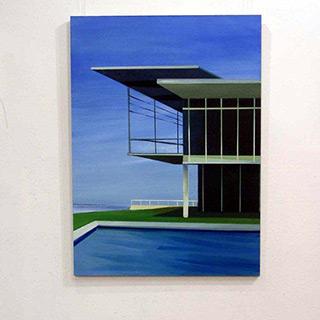 Maria Kiesner : Blue villa : Tempera on Canvas
