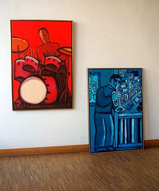 Krzysztof Kokoryn : Red drums palyer : Oil on Canvas