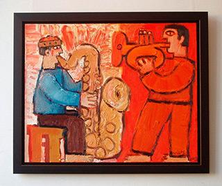 Krzysztof Kokoryn : Trumpet and saxophone players : Oil on Canvas