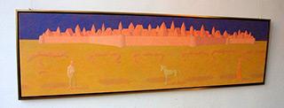 Mikołaj Kasprzyk : Landscape with castle and unicorn : Oil on Canvas