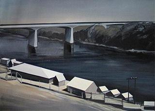 Maria Kiesner : Landscape with bridge : Tempera on Canvas