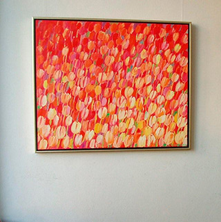 Beata Murawska : Pink tulips field : Oil on Canvas