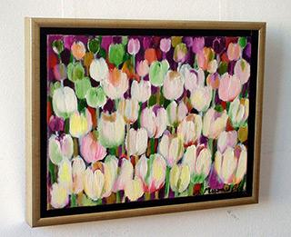 Beata Murawska : Gray tulips field : Oil on Canvas