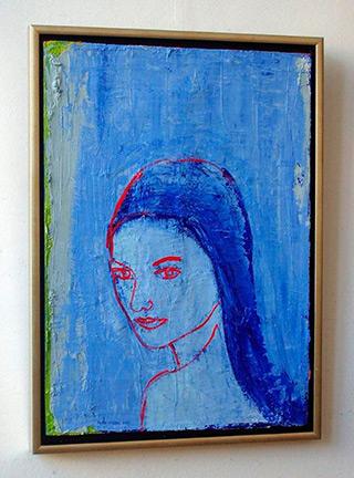 Jacek Łydżba : Blue portrait : Oil on Canvas