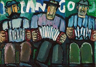 Krzysztof Kokoryn : 3 Bandeon Players : Oil on Canvas