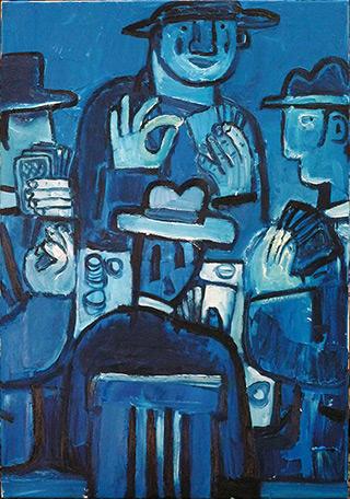 Krzysztof Kokoryn : Poker Players : Oil on Canvas