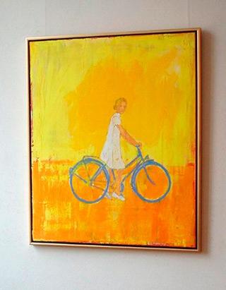 Jacek Łydżba : White dressed lady with bicykle : Oil on Canvas