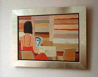 Krzysztof Kokoryn : Lady with magazine : Oil on Canvas
