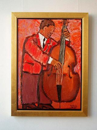 Krzysztof Kokoryn : Red bass player : Oil on Canvas