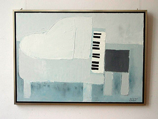 Krzysztof Kokoryn : White piano : Oil on Canvas