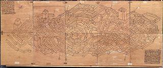 Jolanta Wagner : Danish map : Indian ink, wax, plywood