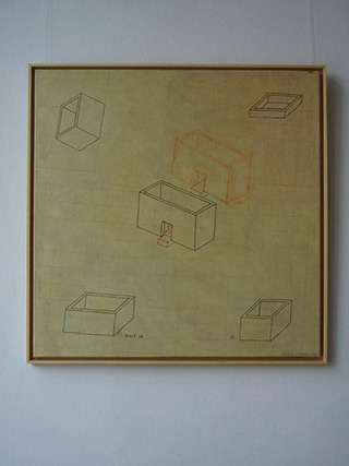 Jolanta Wagner : House no 2 : Acrylic, indian ink wax, canvas