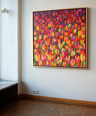 Beata Murawska : Big tulips field : Oil on Canvas