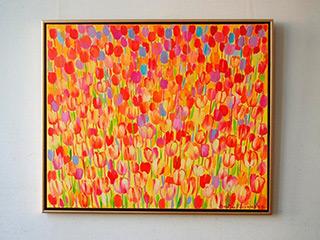 Beata Murawska : Orange tulips field : Oil on Canvas