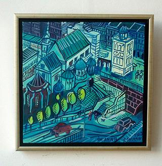 Edward Dwurnik : Blue old town : Oil on Canvas