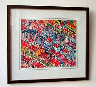 Edward Dwurnik : Diagonal city : Tempera on paper