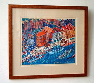 Edward Dwurnik : Gdansk - harbour : Tempera on paper