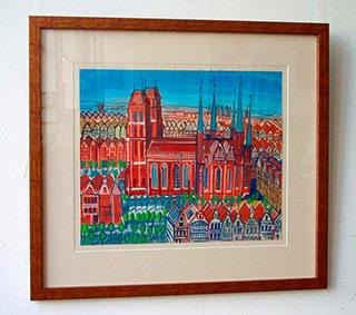 Edward Dwurnik : Gdansk - old town : Tempera on paper