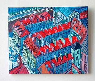 Edward Dwurnik : Old town : Oil on Canvas