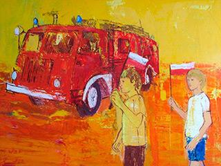 Jacek Łydżba : Fire brigade : Oil on Canvas