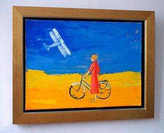 Jacek Łydżba : Girl, bicykle and plane : Oil on Canvas
