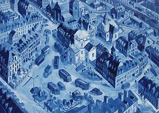 Edward Dwurnik : New Market Square : Oil on Canvas