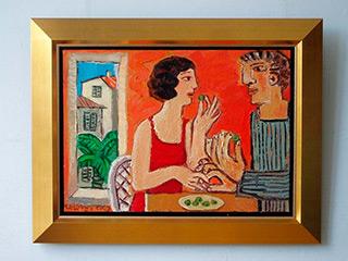 Krzysztof Kokoryn : Couple eating olives : Oil on Canvas