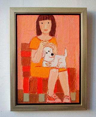Krzysztof Kokoryn : Girl with a little dog : Oil on Canvas