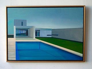 Maria Kiesner : House with swimmingpool : Tempera on canvas