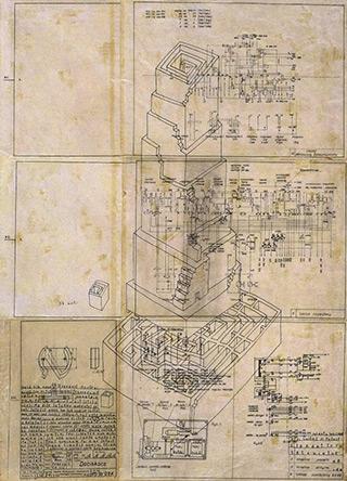 Jolanta Wagner : Karlsbad, building no 1 : Indian ink, wax, old tracing paper