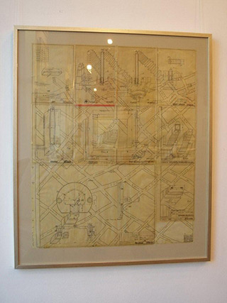 Jolanta Wagner : Map of Lodz S. district : Indian ink, wax, old tracing paper
