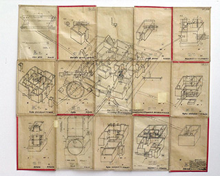 Jolanta Wagner : Plan of the house on Piotrkowska st. : Indian ink, wax, old tracing paper