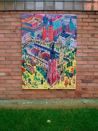 Edward Dwurnik : Krakow Marketplace : Oil on Canvas